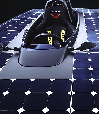 Solar panels on an electric racing car