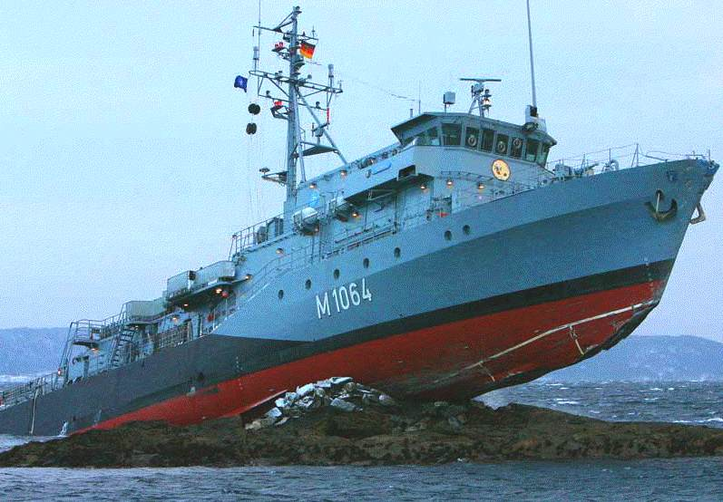 German Frankenthal class mine hunter aground on rocks