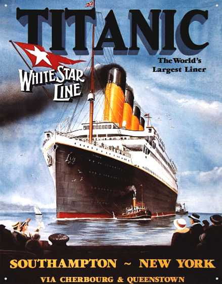 Titanic enamelled tin sign - The world's Largest Liner