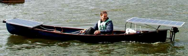 Cedric Lynch testing solar powered canoe