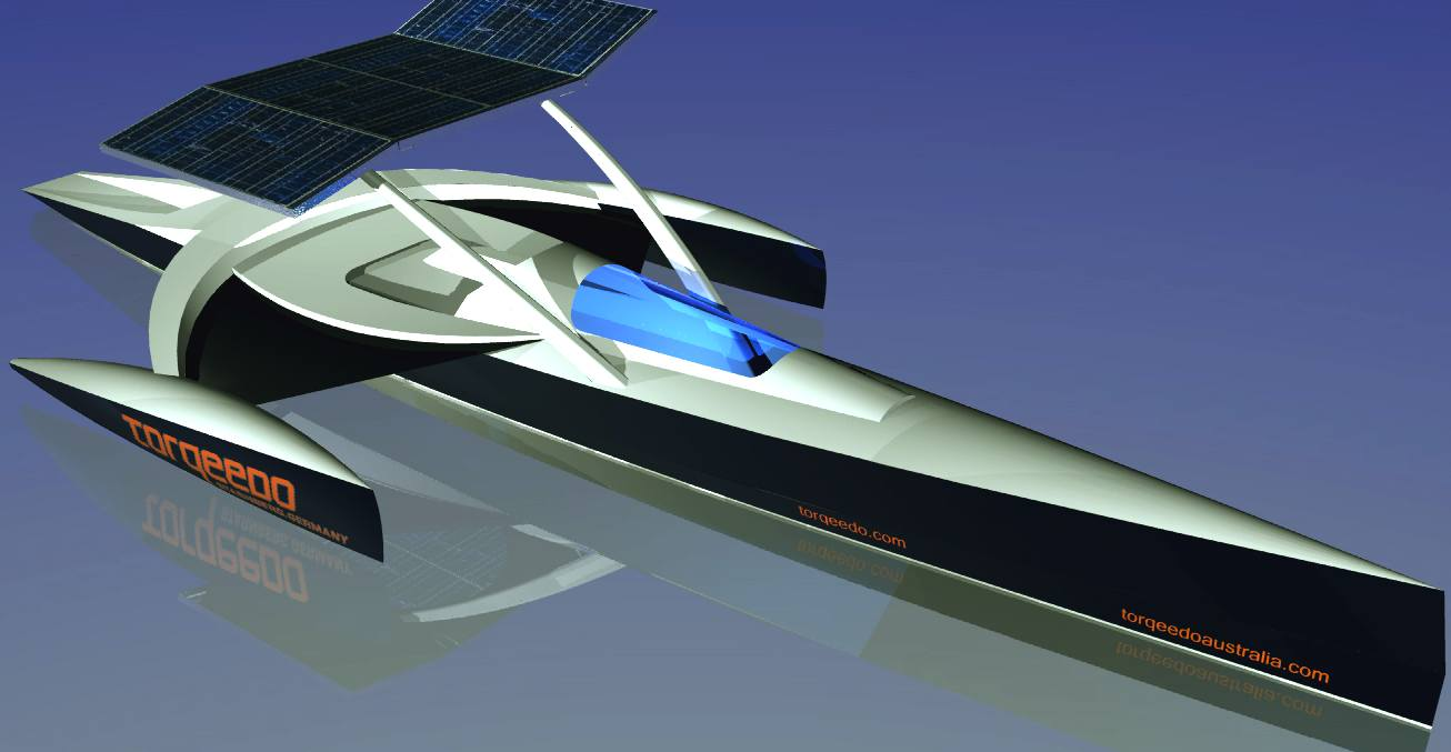 Torqueedo solar powered trimaran boat