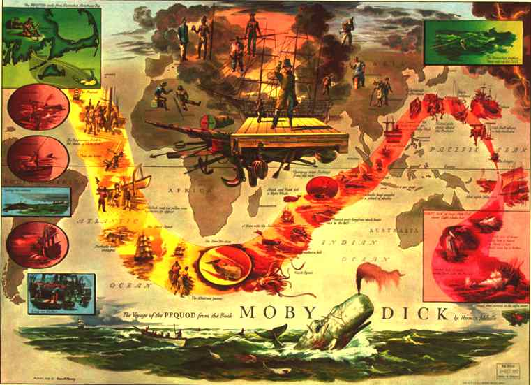 Map of the world montage voyage of the Pequad in Moby Dick