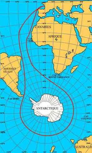 Vendee Globe route map centred about Antarctica