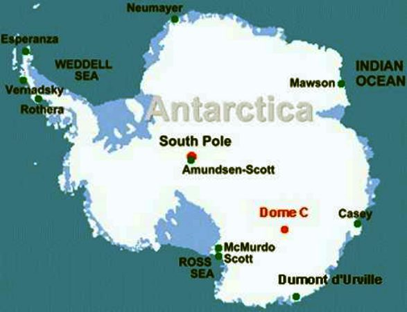 Map of the South Pole, Antarctica