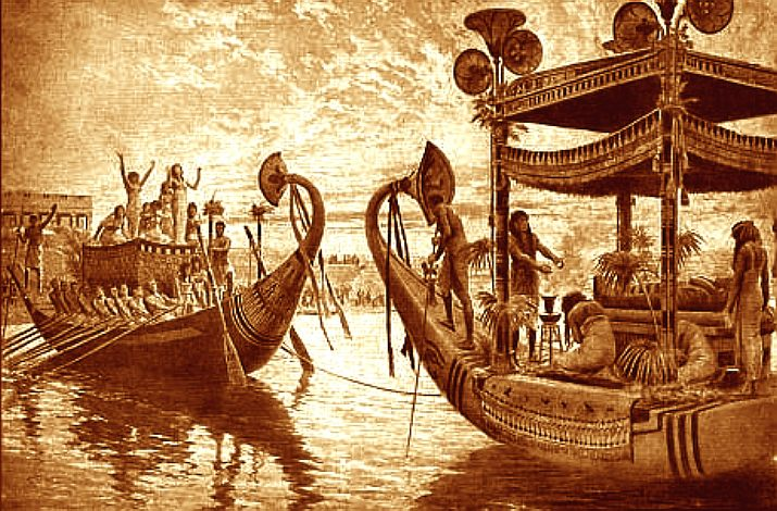 Ancient Egyptian royal funeral barge, or solar boat