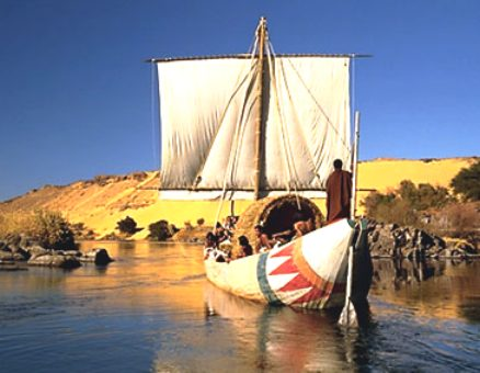 Modern Egyptian sailing boat on the river Nile