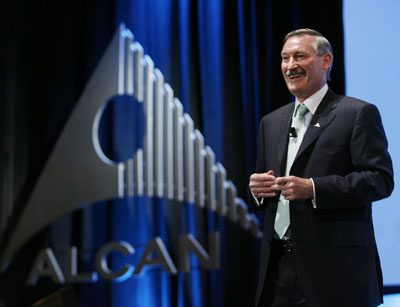 Alcan Inc. chief executive officer Richard Evans talks at the company's 105th annual general meeting April 26 Montreal 2007