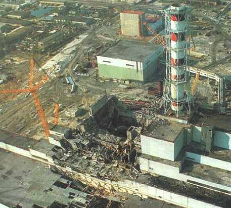 Chernobyl reactor building destroyed by meltdown