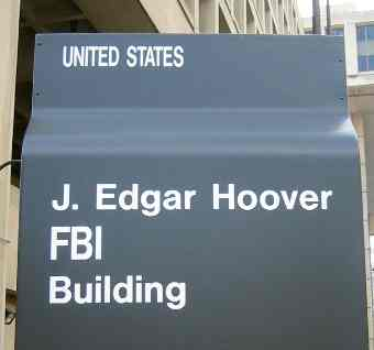 FBI J. Edgar Hoover building sign at entrance