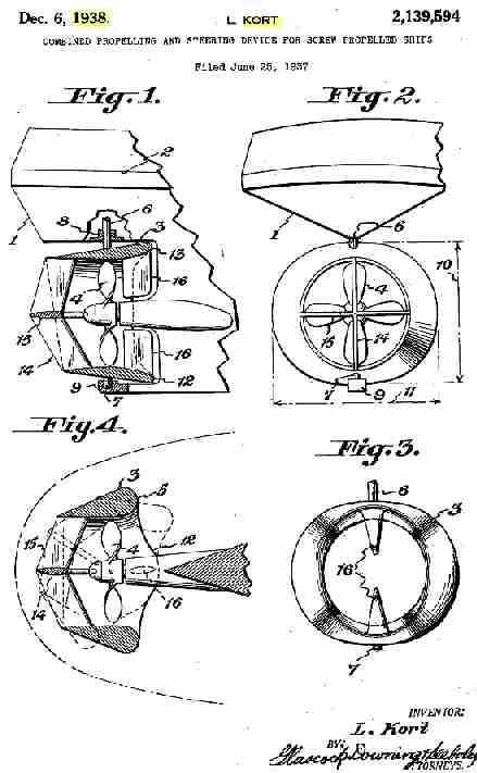Ludwig Kort propellor nozzle patent application drawings 1938