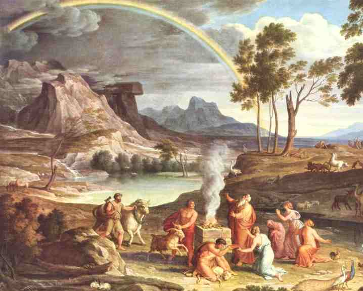 Noah's Thanksoffering (c.1803) by Joseph Anton Koch. Noah builds an altar to the Lord after being delivered from the Flood; God sends the rainbow as a sign of his covenant (Genesis 8-9)