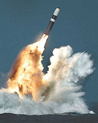A Trident II missile with a nuclear tipped warhead
