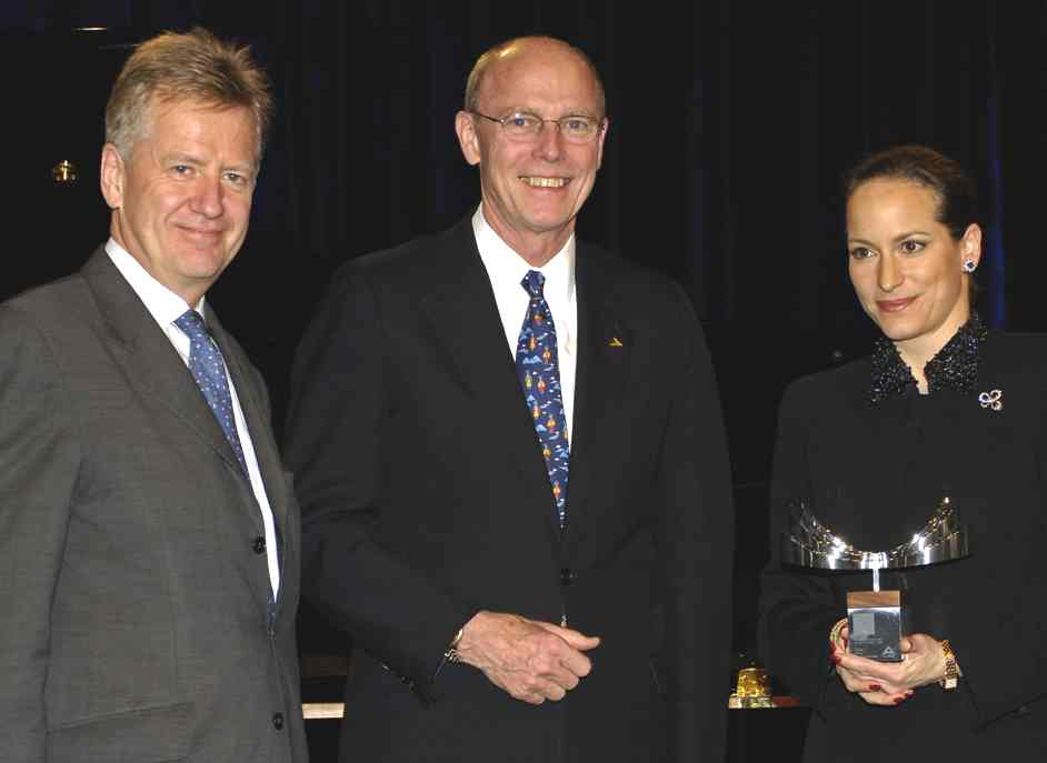 Princess Zahra with Robert Davies MD of International Business Leaders Forum, and Travis Engen, President and CEO of Alcan, at gala event in honor of 2005 Alcan finalists