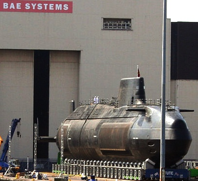 HMS Astute being rolled out of the sheds at BAE systems
