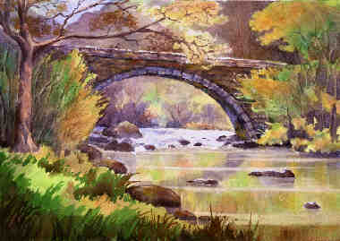 Halfway bridge, North Wales, painting by R C Martin