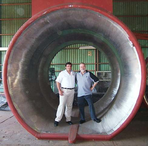 A large Rice thrust nozzle with makers standing inside