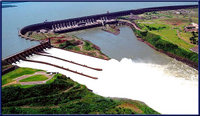 Hydroelectric power stations produce indirect solar power. The Itaipu Dam, Brazil / Paraguay