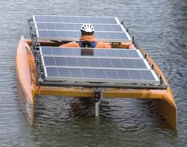 Solar powered one man catamaran orange