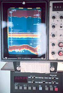 Cabin display of a fish finder sonar