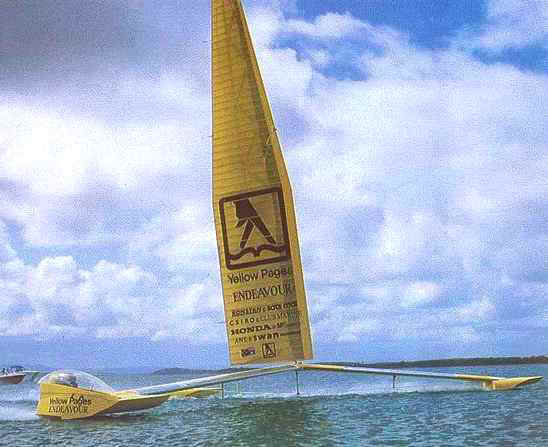 Yellow Pages trimaran Endeavour foil triple hull
