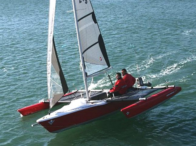 Wooden trimaran sailing boat
