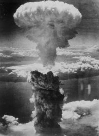 Mushroom Cloud over Nagasaki after the atomic bomb.