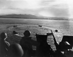 LCVP landing craft circle while awaiting landing orders during the invasion of Cape Torokina, Bougainville, 1 November 1943
