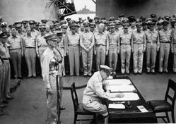 Japan formally surrenders aboard USS Missouri in Tokyo Bay