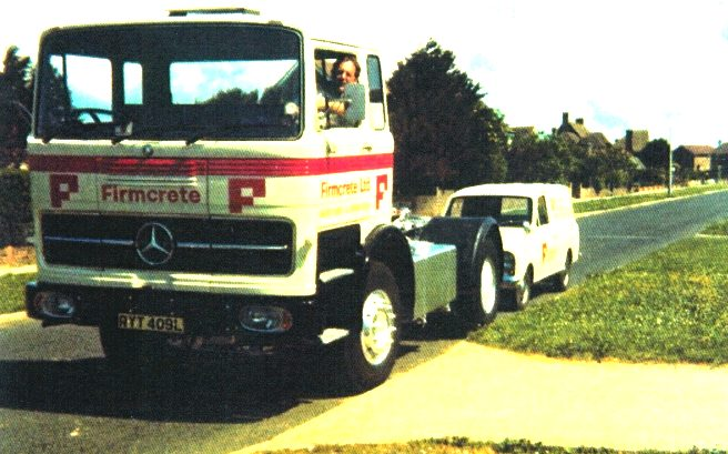 Mercedes truck and van in Firmcrete livery, parked outside 24 Beacon Road in Seaford