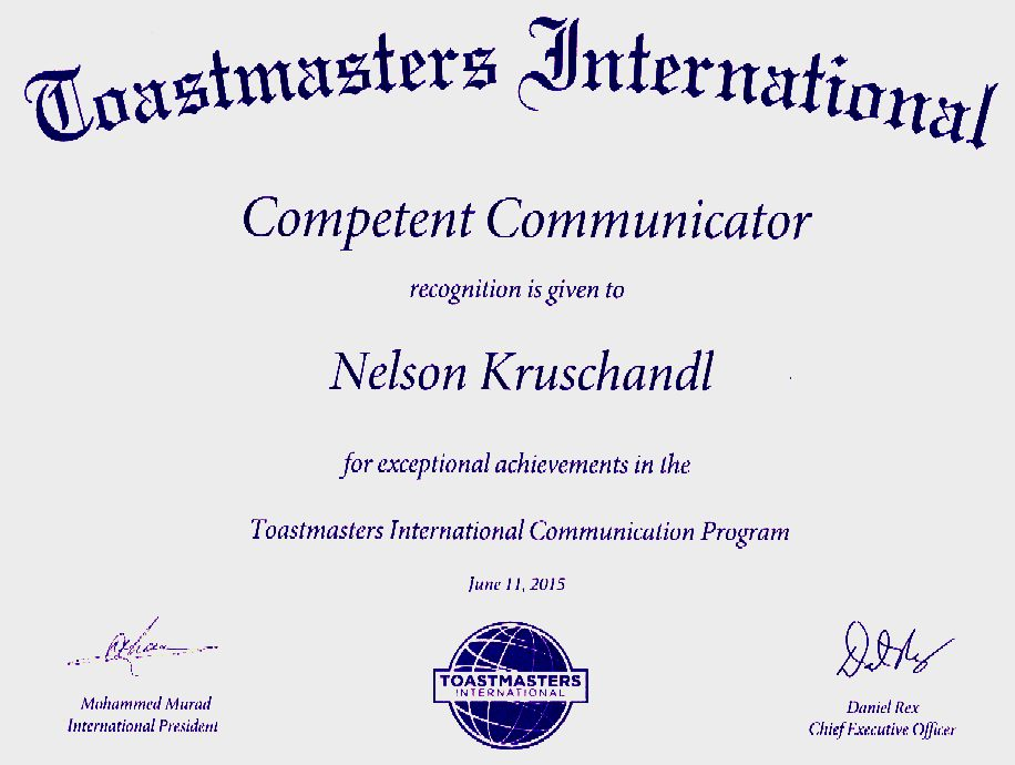 Toastmasters International competent communicator award June 2015
