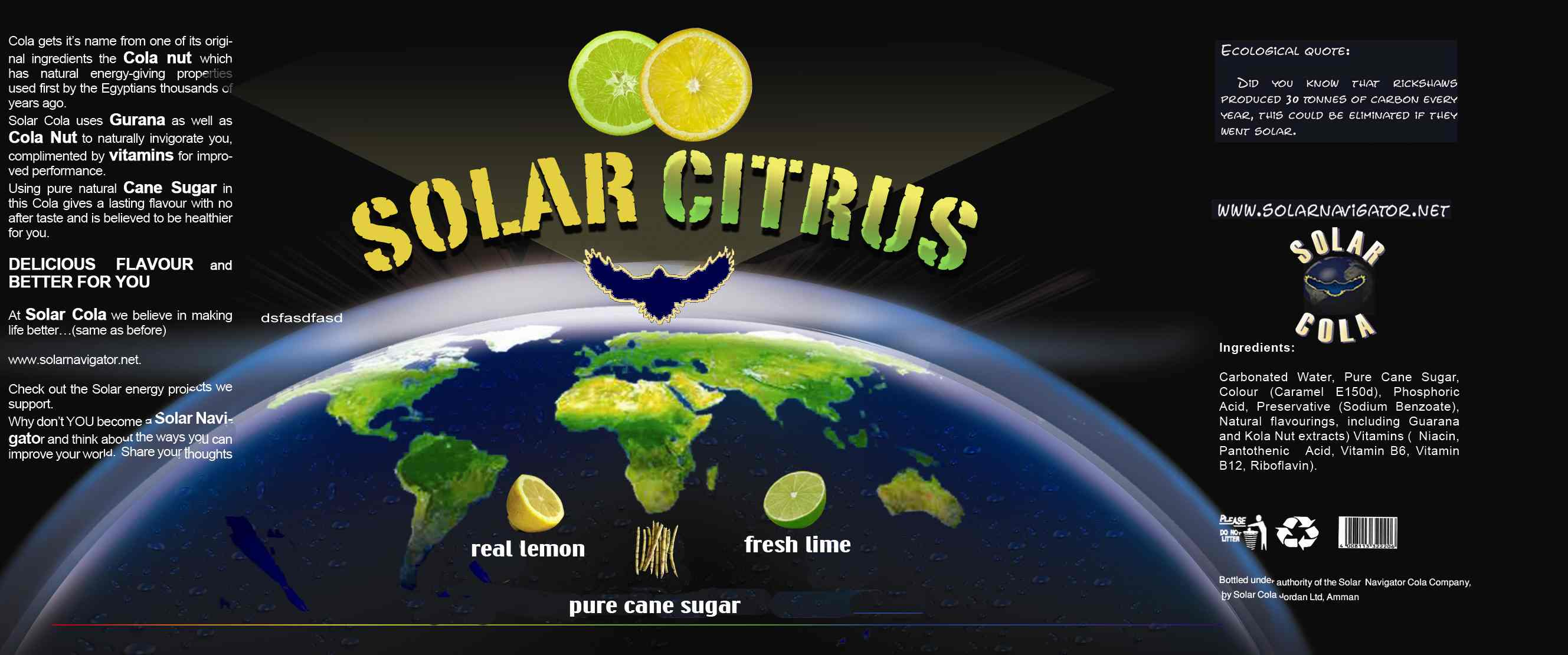 Solar Citrus 330ml can label, natural lemon and lime flavour drink with pure cane sugar