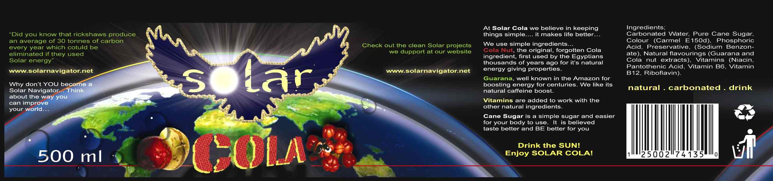 Solar Cola blue planet earth label sample for a 500ml PET bottle