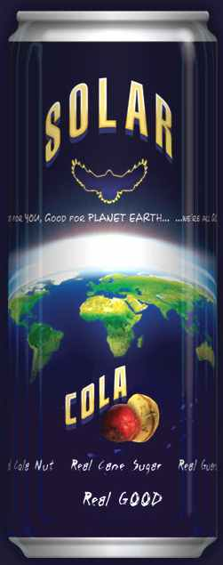 Blue planet earth solar cola peace soft drink can